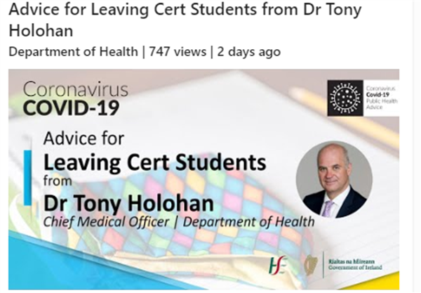 Message for LC 2021 students from the CMO Dr. Tony Holohan