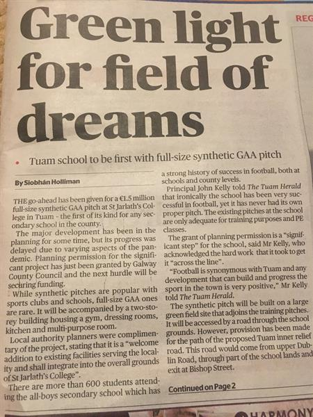Planning granted for full-size synthetic GAA pitch